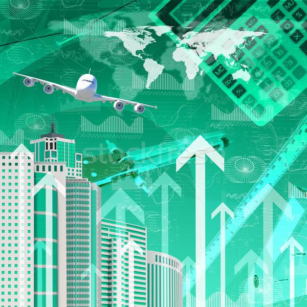 Aereo grattacieli frecce crescita business soldi Foto d'archivio © cherezoff