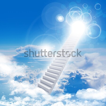 White stair with color sky and thunder Stock photo © cherezoff