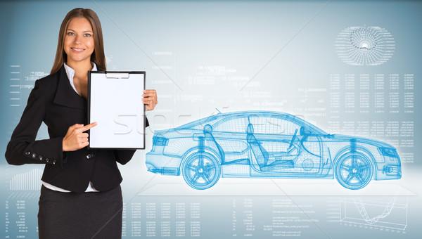 Femme d'affaires papier voiture graphiques Photo stock © cherezoff