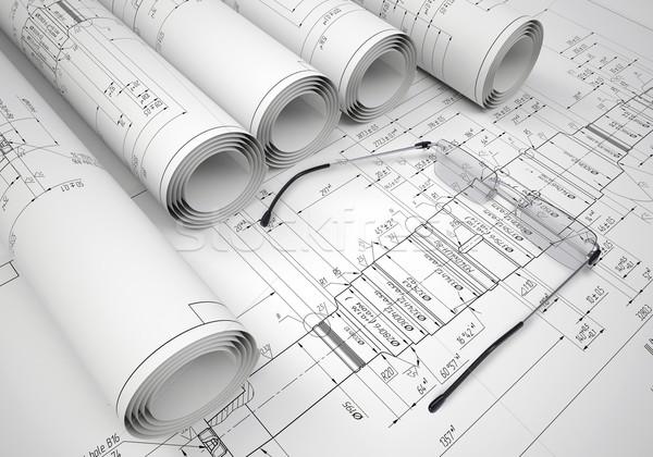 Inżynierii rysunki okulary rysunek przemysłowych Zdjęcia stock © cherezoff
