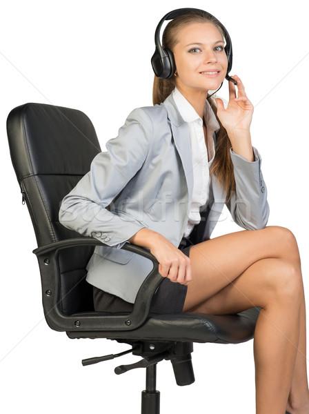 女性実業家 ヘッド 座って 事務椅子 指 マイク ストックフォト © cherezoff