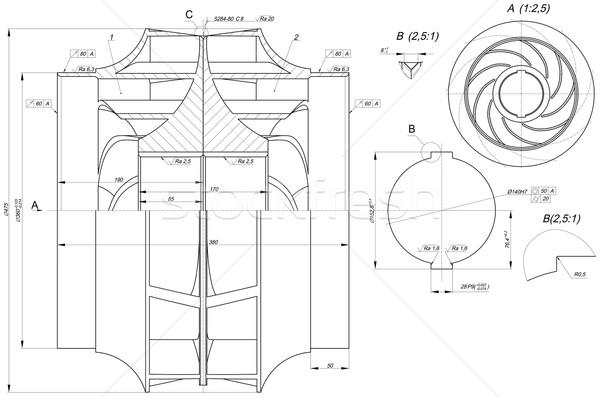 Sketch of engineering wheel Stock photo © cherezoff