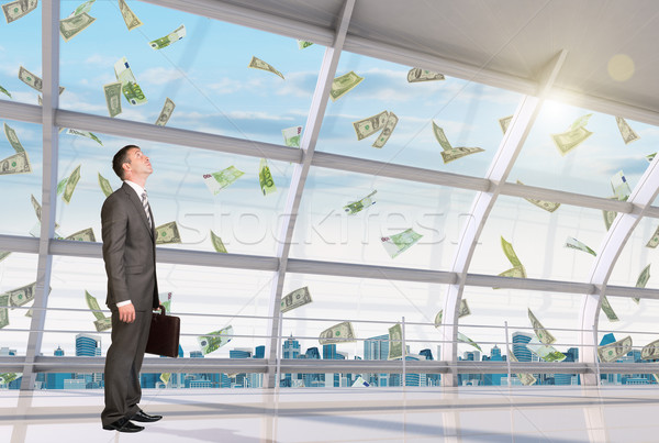 Businessman under money rain Stock photo © cherezoff
