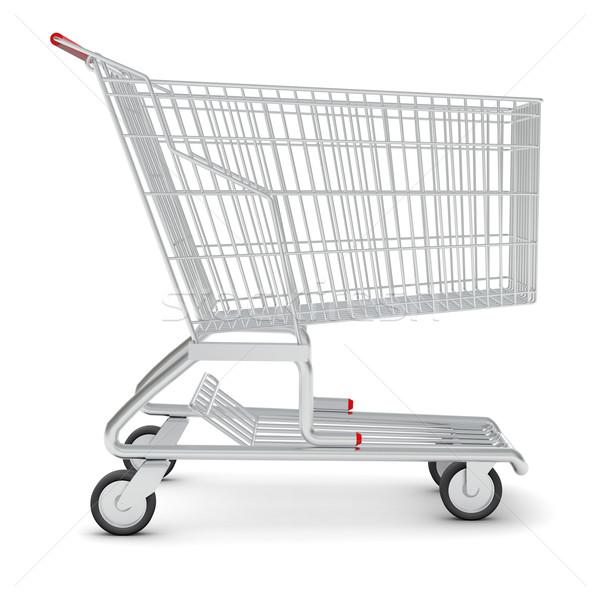 Bevásárlókocsi piac izolált fehér fém bolt Stock fotó © cherezoff