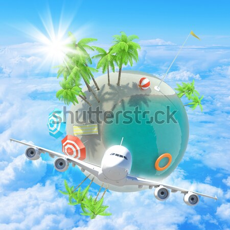 Earth above humans hands with jet Stock photo © cherezoff