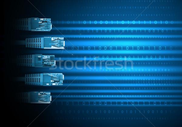 Niebieski komputera kabli numery kabel komputerowy streszczenie Zdjęcia stock © cherezoff