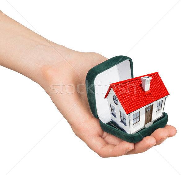 Empty open ring box with house in humans hand Stock photo © cherezoff