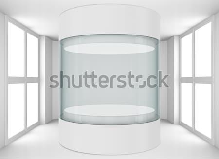 空っぽ ガラス ショーケース 展示 光 芸術 ストックフォト © cherezoff
