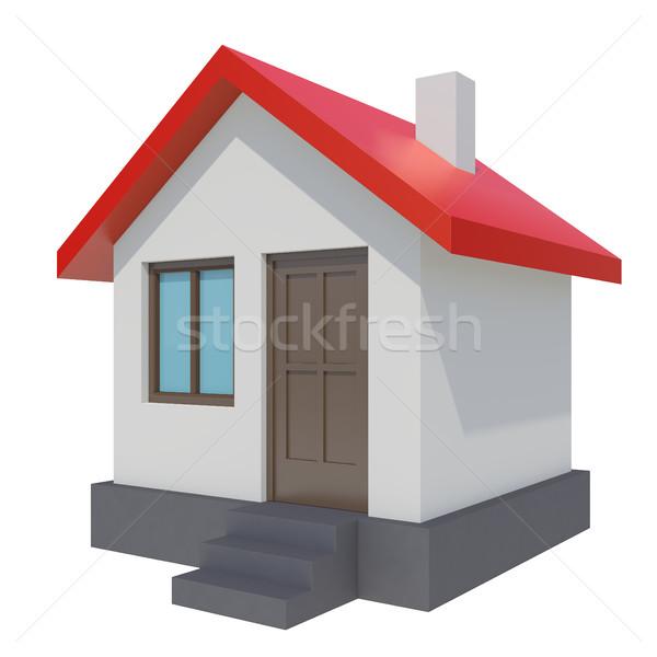 Pequeno casa vermelho telhado branco 3D Foto stock © cherezoff