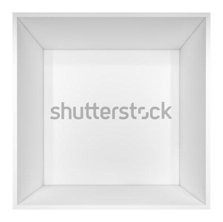Vazio branco prateleira de livros isolado ilustração 3d negócio Foto stock © cherezoff