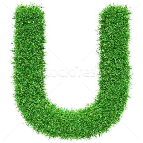 Green Grass Letter U Stock photo © cherezoff