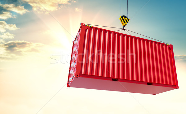 Crane hook and cargo container on sky background Stock photo © cherezoff