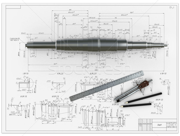 Stock photo: metal shaft, compasses, rulers and pencils at an engineering drawing
