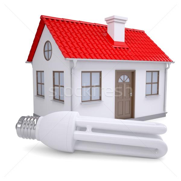 Energia takarékosság lámpa kicsi ház izolált Stock fotó © cherezoff