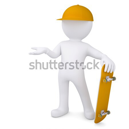 3d white man with a skateboard Stock photo © cherezoff