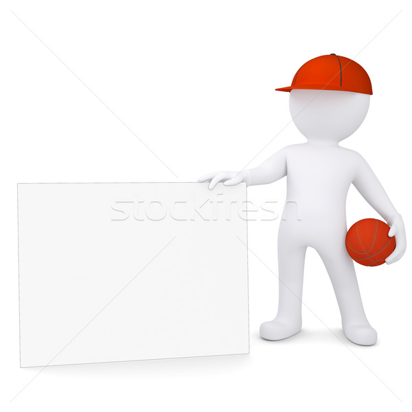 3d basketball player with the white card Stock photo © cherezoff