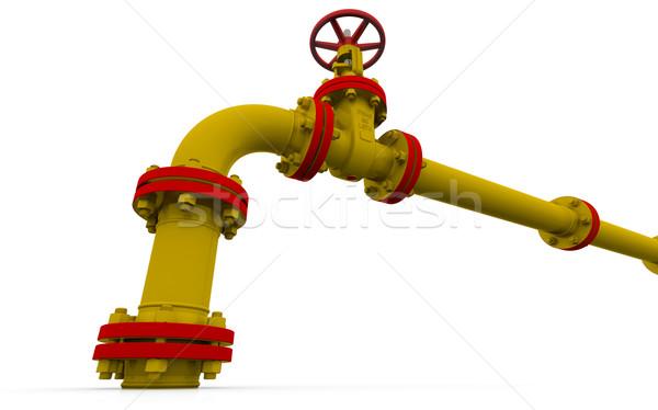 желтый трубы клапан изолированный оказывать белый Сток-фото © cherezoff