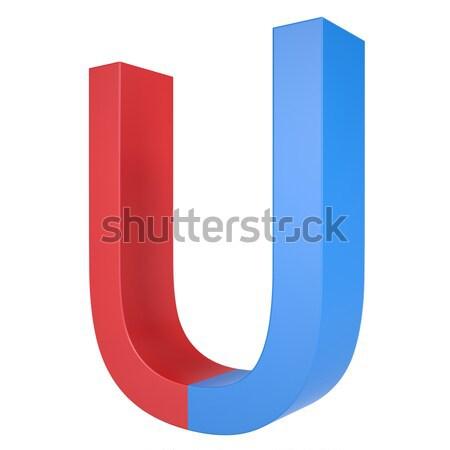 Kék piros mágnes izolált render fehér Stock fotó © cherezoff