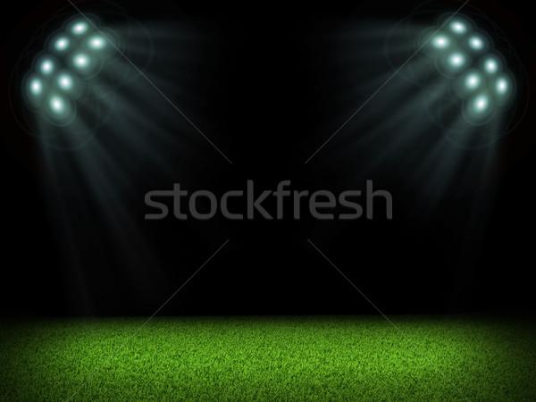 Night football arena illuminated by spotlights Stock photo © cherezoff