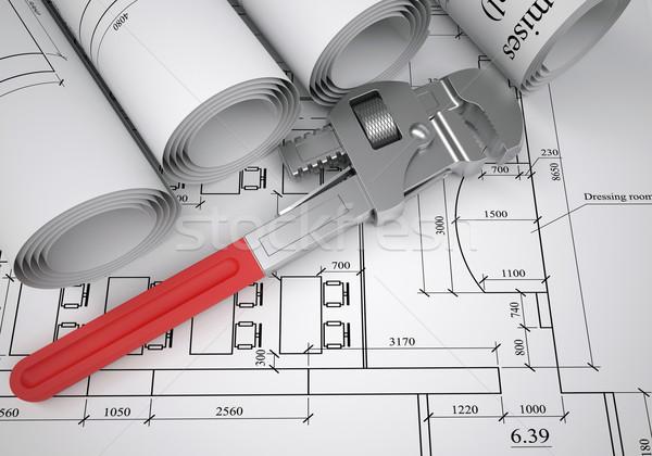 Tekercsek építészeti rajzok cső franciakulcs asztal Stock fotó © cherezoff