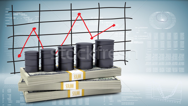 Barrels oil stand on pack of dollars Stock photo © cherezoff