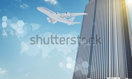 Airplane with network icons Stock photo © cherezoff