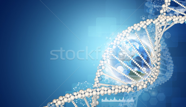 DNA model and Earth. Wire-frame spheres, graphs with hexagons Stock photo © cherezoff