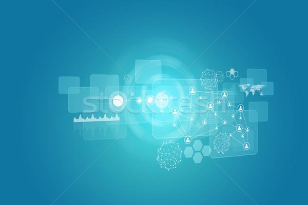 Parıltı circles şeffaf grafikler ağ mavi Stok fotoğraf © cherezoff