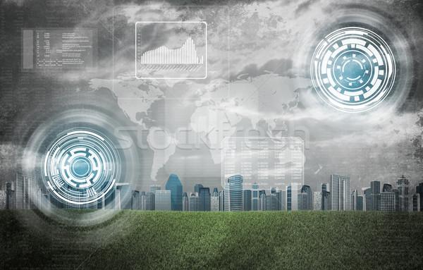 Wereldkaart grafieken cirkels gebouwen groen gras veld Stockfoto © cherezoff