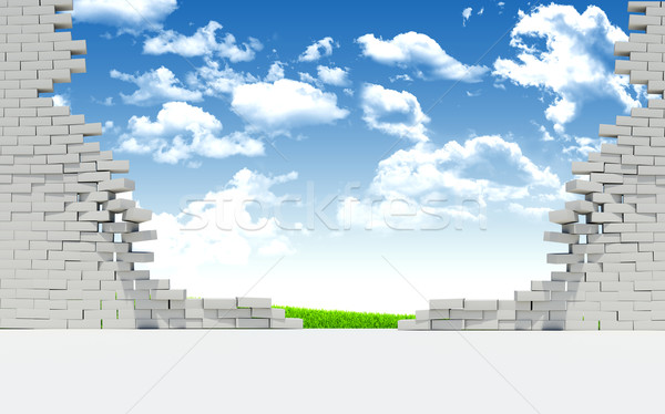Ruined brick wall and nature landscape Stock photo © cherezoff