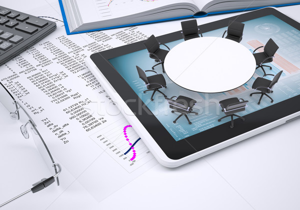 Round table, tablet pc, book, calculator, glasses, paper with columns of figures.II Stock photo © cherezoff