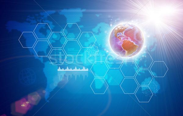Earth, world map, light and hexagons  Stock photo © cherezoff