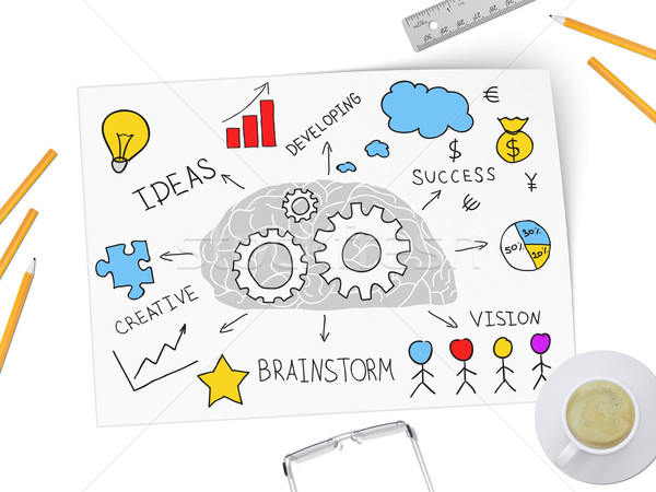 Brain works on new business by ideas over a cup of coffee Stock photo © cherezoff
