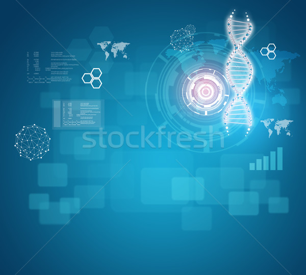Human DNA. Background of red ring with hexagon and information board Stock photo © cherezoff