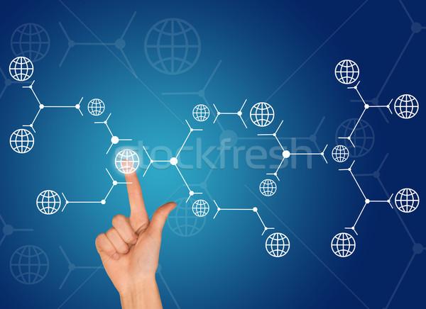 Işaret parmağı beyaz dünya bağlantı mavi imzalamak Stok fotoğraf © cherezoff