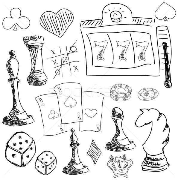Symboles jeux jeux blanche dés Photo stock © cherezoff