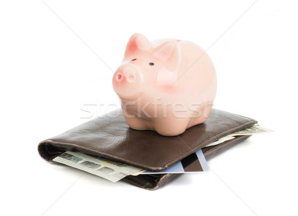 Piggy Bank кожа кошелька изолированный белый свинья Сток-фото © cherezoff