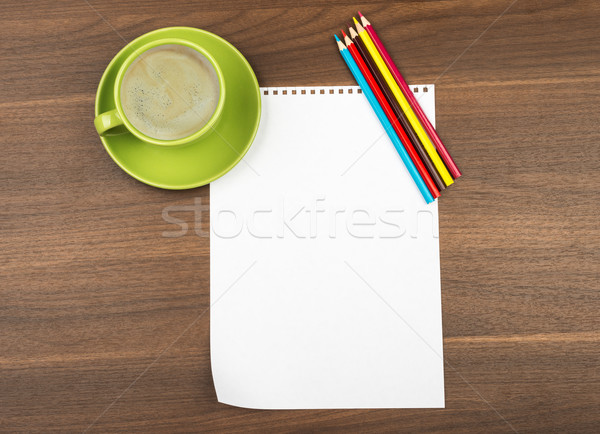 Blank paper with crayons and cup of coffee Stock photo © cherezoff