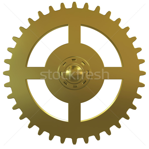 Stock photo: Gold gear of the clock on a white background