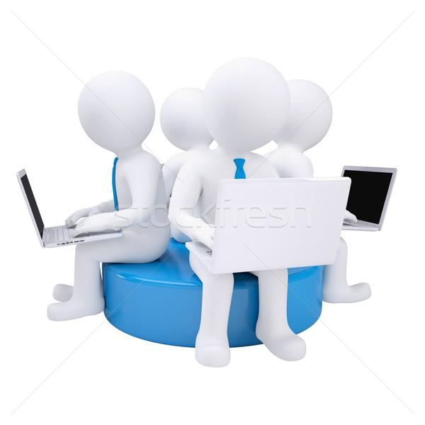 Négy 3d ember laptop ül kék lemez Stock fotó © cherezoff