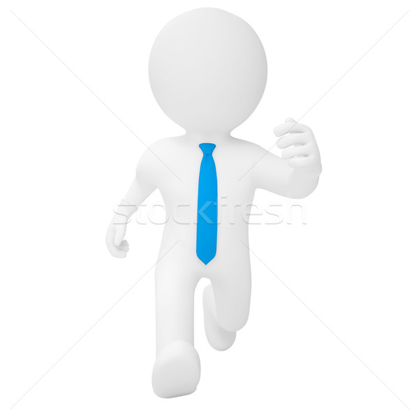 Foto stock: O · homem · 3d · corrida · isolado · tornar · branco · acelerar