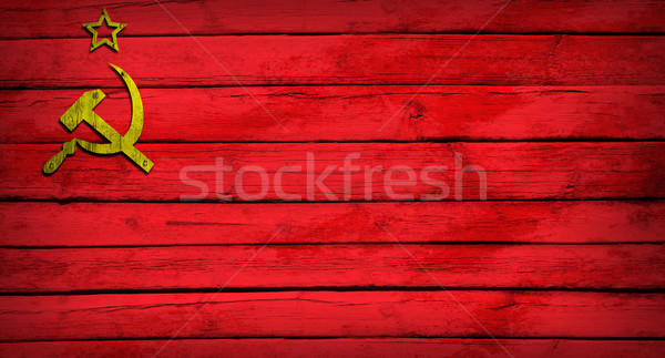 Soviet Union flag painted on wooden boards Stock photo © cherezoff