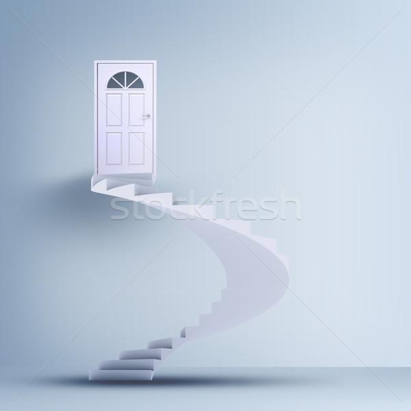 Spiralis escada fechado portas cinza parede Foto stock © cherezoff