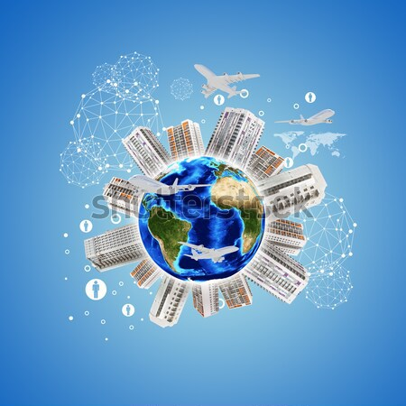 Earth planet image with buildings on surface Stock photo © cherezoff