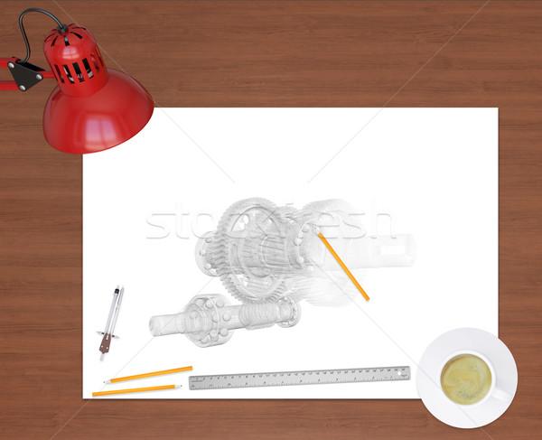 エンジニアリング 図面 事務用品 木製のテーブル 職場 エンジニア ストックフォト © cherezoff
