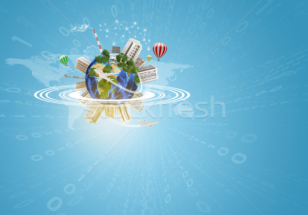 Earth with buildings, air balloons and airplanes Stock photo © cherezoff