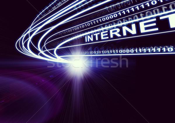 Stream of light beams, digits and word internet, on dark background Stock photo © cherezoff