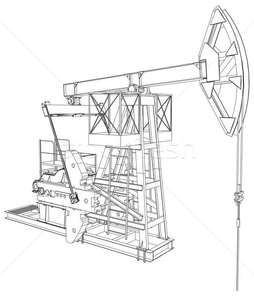 Oil Pump Jack Vector Rendering Of 3d Vector Illustration Kirill