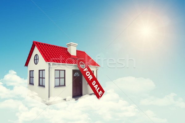 Stock photo: White house with label for sale, red roof and chimney in cloud. Background sun shines brightly