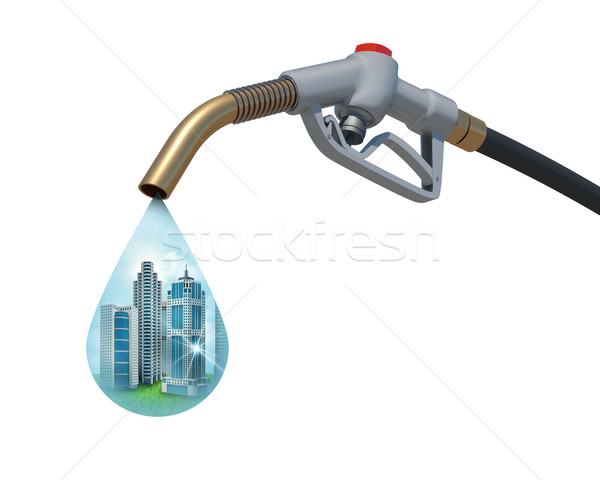 Cityscape inside of aa drop weeping from the fuel nozzle Stock photo © cherezoff